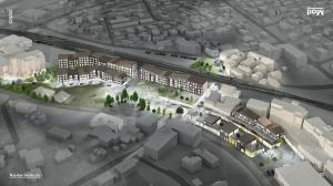 Planer for nye Nærbø sentrum - Illustrasjon: Mad Arkitekter